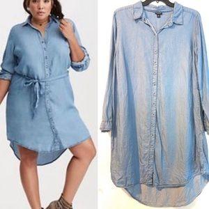 Torrid chambray high low shirt dress